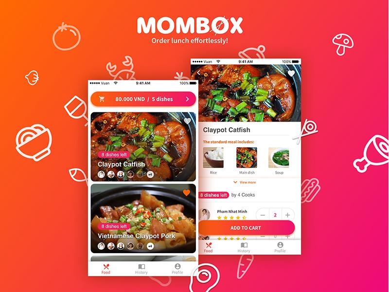 Mombox | Food Menu cook vietnam navigation gradient button food order food select ui application menu food