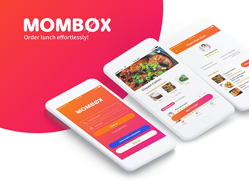 Mombox - Lunch Order App mombox cart log in food order lunch drinks food