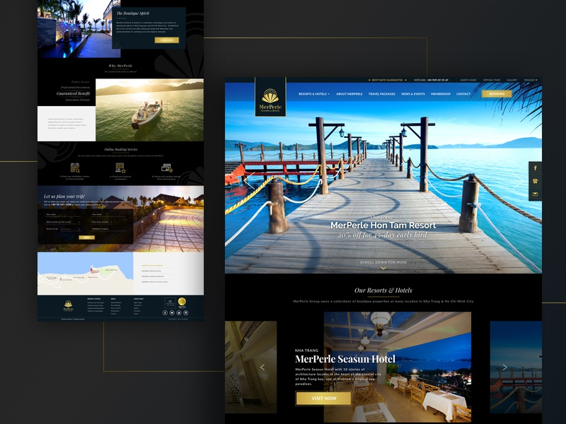 MerPerle - Luxury Resorts & Hotels Website Concept resorts boutique web website homepage hotels mega menu ui vietnam gold royal design branding