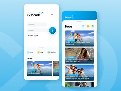 Mobile Banking Login Screen - Exibank