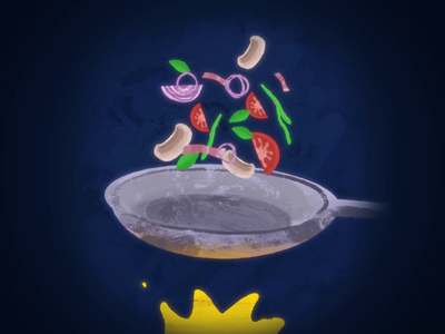 Pan frying pan vegetables vegetables motionbogdan motiondesign frying pan fire roughanimator procreate dribbble vector animation animation after effects 2d animation pan