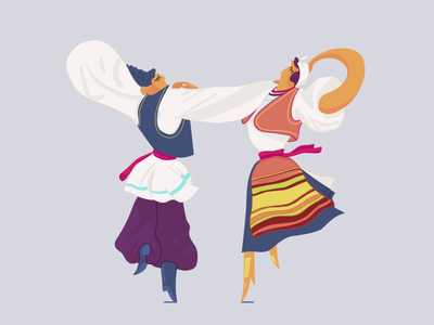 Romanian Traditional Dance dribbble illustration gif animation 2d motiondesign animation after effects 2d animation vector animation dancers traditional dance romanian romanian traditional dance