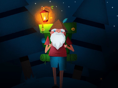 Old Man Hiking lamp scarry night walking cycle illustration motiondesign animation after effects 2d animation vector animation