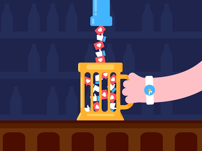 Bottoms Up drinking addiction likes social media bar beer vector animation motiondesign gif animation after effects 2d animation
