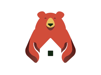 Logo Animation bear protects animation 2d vector animation illustration 2d animation animation after effects hug house logo animation bear