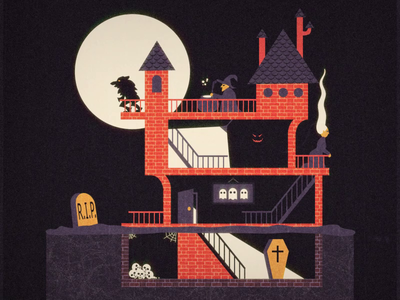 Halloween Castle ghost coffin illustration animation 2d motiondesign animation after effects 2d animation vector animation halloween 2019 pumpkin undead scary witch werewolf castle halloween halloween castle