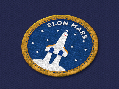 Elon Mars space ship patch space mission space travel space x space exploration elon musk patch elon mars patch motiondesign animation after effects 2d animation vector animation patch shoulder patch space mission patch dribbble dribbbleweeklywarmup space patch mars elon mars elon musk