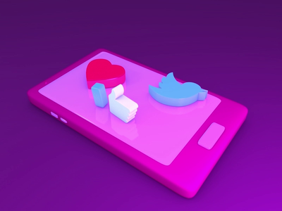 Likes and Tweets 3d modelling 3d cinema4d likes and tweets motiondesign like button social media phone heart tweet like likes