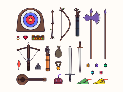 Robin Hood essentials crossbow arrow shield sword weapon vector tarful essentials illustration icon disney robin hood