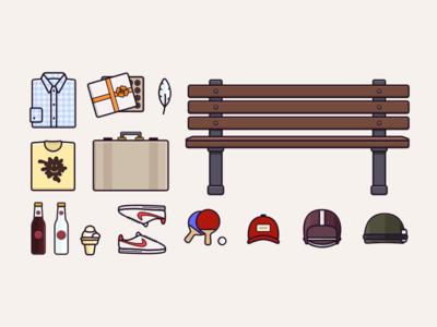 Forrest Gump Essentials iconography tarful forrest gump vector icon illustration essentials