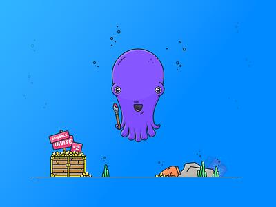 Dribbble Invites draft contest treasure character debut octopus design vector icon illustration joindribbble dribbble invite