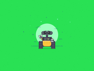 Wall-E illustration wall-e art space graphic design flat drawing character cartoon vector icon design illustration