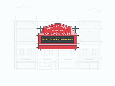 Wrigley Field Illustration wrigley field stadium sign landmark stroke vector illustration baseball design city chicago cubs building architecture