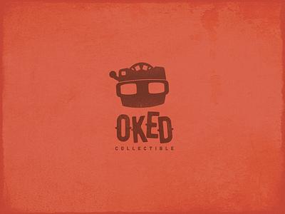 Oked Collectible Logo texture emblem concept vintage collectible retro toy branding brand identity vector mark logotype logomark logo design