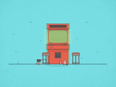 Retro Arcade Machine player vintage video game vector toy retro illustration icon gaming game arcade design