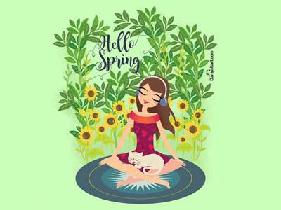 Darajatiart_Hello Spring ilustration spring hello music listening girl