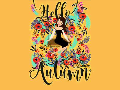 Hello Autumn by Darajatiart design ilustration swing pattern girl flower 4season autumn hello