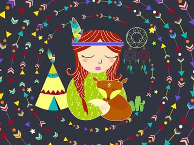 Bohemian Girl  darajatiart caracter girl ilustration bohemian bohostyle indian teepees
