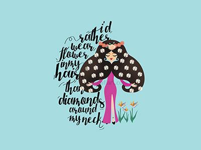 Flower In My Hair ilustration typography handwriten fiverr