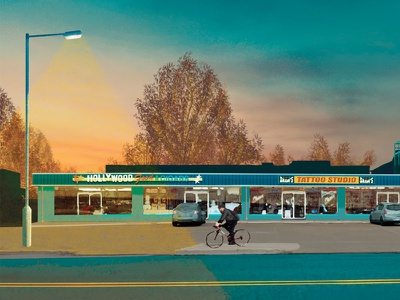 Houstonia | Ice House Strip Malls houston street bicycle illustration strip mall editorial