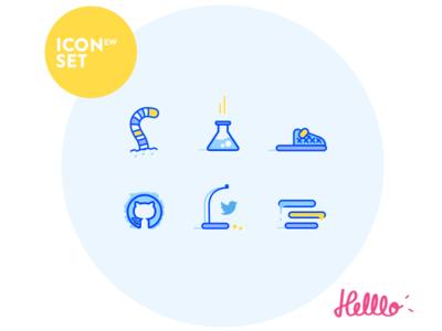 Icon Set New - Developers crumb community slipper styleguide bug twitter github labs blue shopware icons developer