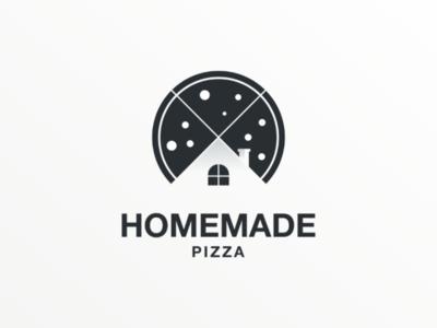 Homemade pizza companylogo illustration doublemeaning logodesign vector brand logo home house pizza