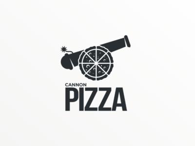 Cannon pizza logodesign doublemeaning brand pizza vector design logo