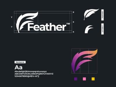 Feather logo construction modern brandidentity brand ux ui vector graphicdesign logodesign feather design logo