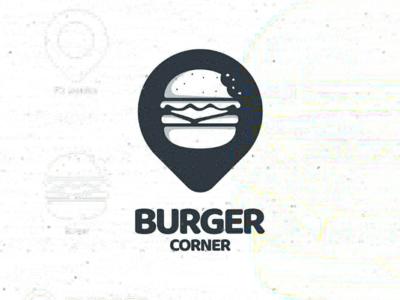 Burger corner logodesigners double meaning combination minimalist illustration foodanddrink vector brand logo location map pin burger