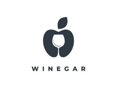 Winegar doublemeaning negativspace vector branding brand logodesign logo wine apple