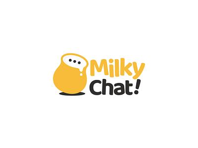 Milky chat negativespace doublemeaning dualmeaning logoinspirations vector branding brand graphicdesign logodesigner logodesigns foodanddrink logo talk chat milk