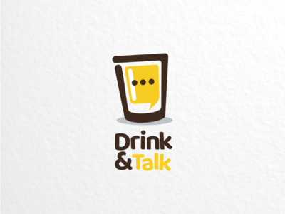 Drink & talk brandidentity brand branding clmbinationlogo dualmeaninglogo dualmeaning vector graphicdesigns logodesigner logodesigns logo brewery beer talk chat