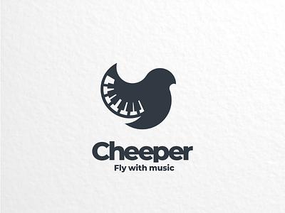 Cheeper branding brand logoinspiration creativelogo logodesign combination doublemeaning dualmeaning logo piano bird school music