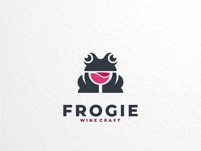 Frogie dualmeaning creativelogo logoinspirations vector brand logodesigner logodesigns logo frog glass wine