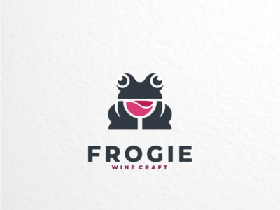 Frogie dualmeaning creativelogo logoinspirations vector brand logodesigner logodesigns logo frog glass wine