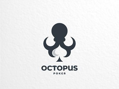 Octopus poker creativelogo logoinspirations dualmeaning brand vector graphicdesigner graphicdesign logodesigner logodesign spade logo octopus poker