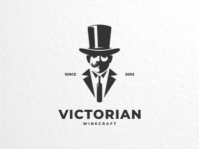 Victorian winecraft gentleman vector vintage brand logodesign design wine logo