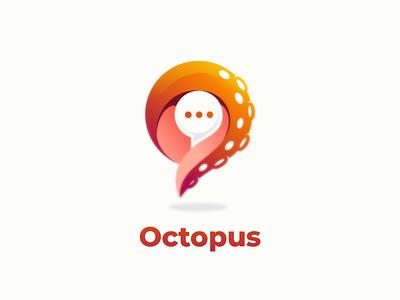 octopus chat app dualmeaning design branding logodesigner illustration doublemeaning brand logodesigns logodesign vector logo