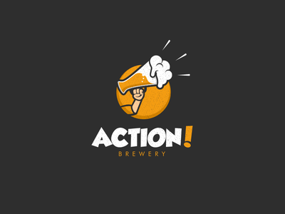 Action Brewery brewery branding animal illustration dualmeaning doublemeaning logodesigns logodesign brand vector logo