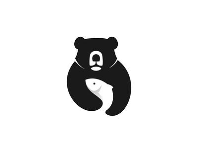fisherbear negative space branding design doublemeaning dualmeaning logodesigns brand vector animal logodesign logo