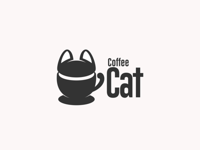 coffee cat cat coffee design animal dualmeaning doublemeaning brand branding logodesigns logodesign vector logo