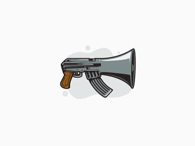 Mouth of gun merged illustration logo loudspeaker speak ak47 gun