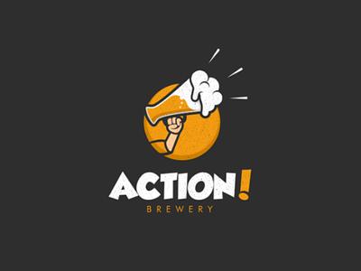 Action Brewery design logo speaker loud cine maker movie action brewery brew beer
