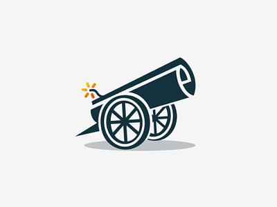 Paper cannon design vector logo gun cannon news paper