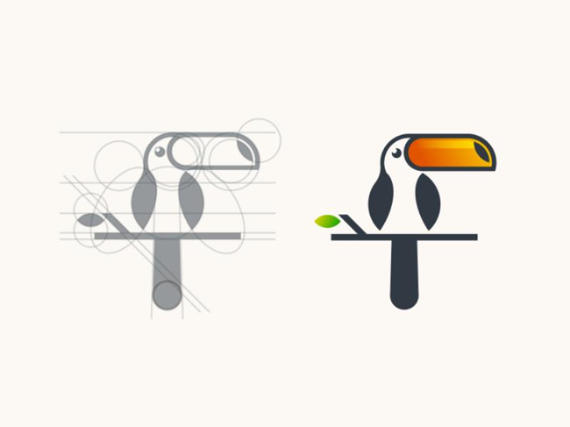 Toucan logo grid animal tropical bird design logo toucan