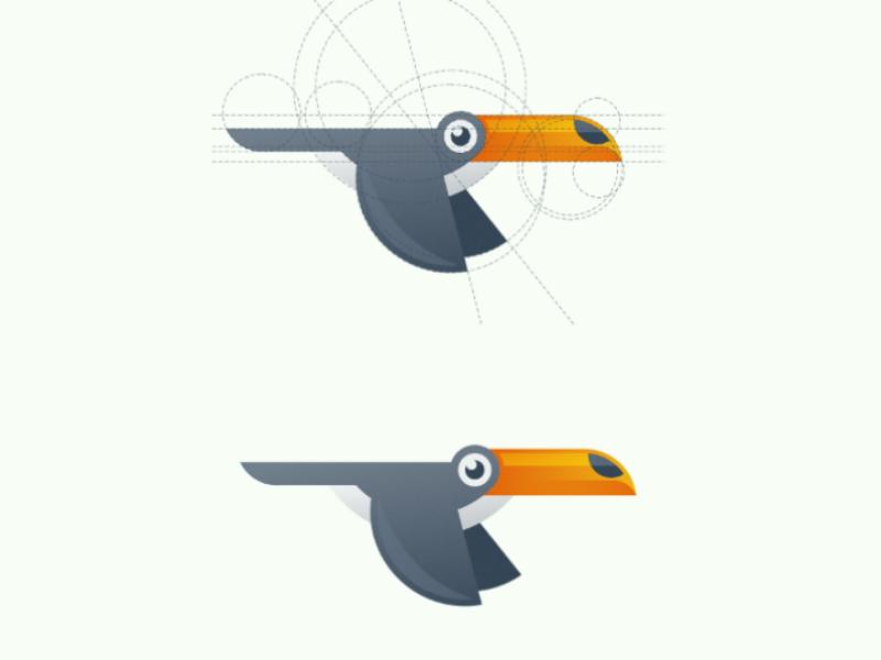 Toucan illustration logodesign vector logo grid tropical exotic bird toucan