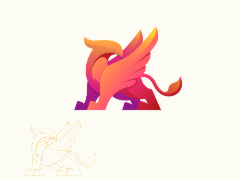 Griffin illustration brand modern vector myth logo colorful griffin