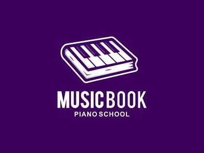 Piano book illustration vector design logo school book music piano