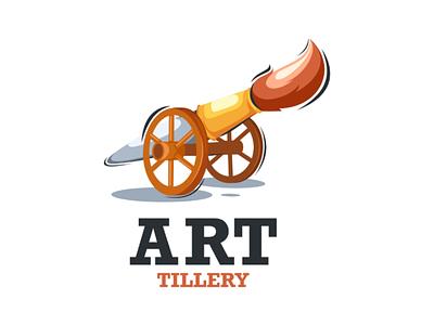 Artillery vector illustration doublemeaning design logo artillery cannon art painting