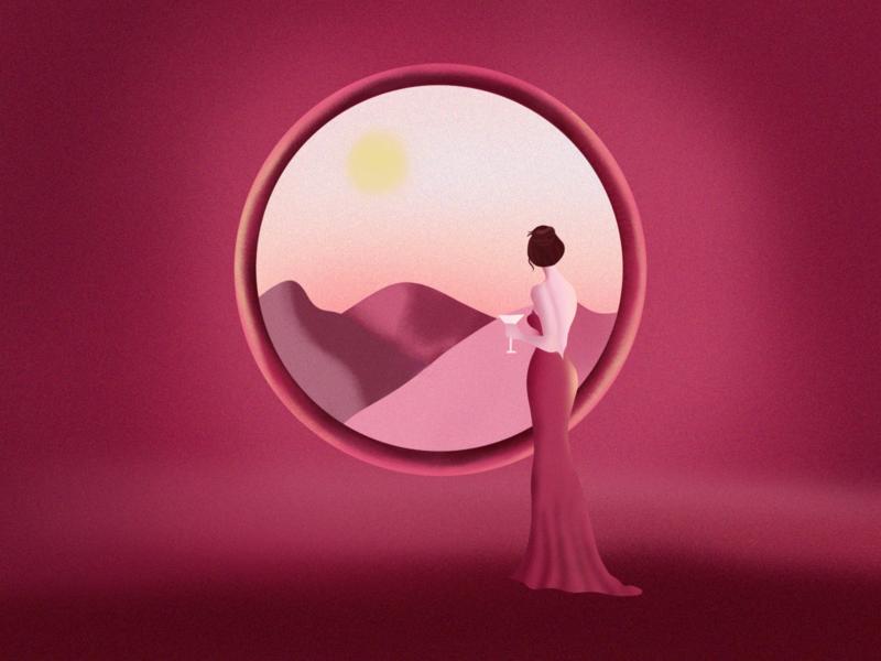 Scenic Beauty woman illustration sun gradient design ladybug art illustration landscape